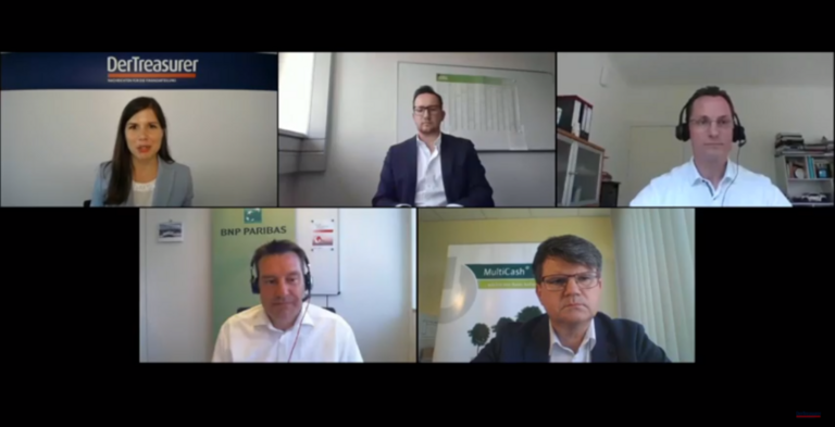 Zum Auftakt Cash Management Campus wurde über die drängendsten Digitalbaustellen im Treasury diskutiert. Mit dabei (von links oben nach rechts unten): Moderatorin Desirée Buchholz (DerTreasurer), Dominik Paschinger (Mann+Hummel), Carsten Linker (Pfleiderer, VDT), Andrej Ankerst (BNP Paribas), Gregor Opgen-Rhein (Omikron)