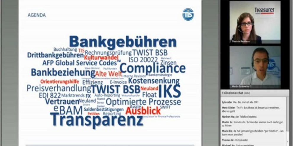 DerTreasurer Webinar: Martin Postweiler von TIS sprach über Bankabrechnungen und Gebührentransparenz.