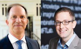 Wim Raymaekers (links) und Damien Vanderveken von Swift im Interview mit DerTreasurer
